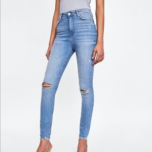 Zara High Waist Venice Distressed Knee Rip Jeans 4